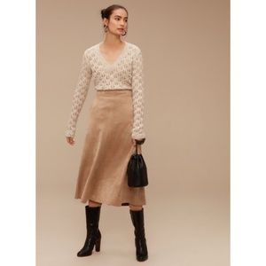 Aritzia Wilfred Faux Suede Midi Skirt